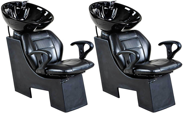 """Universal"" Black Beauty Salon Shampoo Chair & Bowl Unit Package Shampoo Backwash Units Icarus 2"