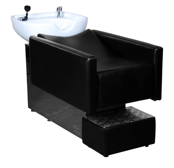 """Reeves"" Black Laid Back Shampoo Unit W/ Footrest"