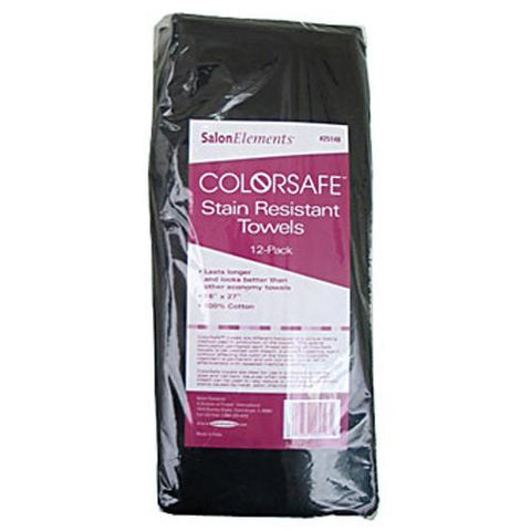 Salon Elements ColorSafe Towel - 12 Pack, Black