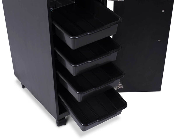 """Vittoria"" Beauty Salon Rolling Trolley Cart, Black Trolleys Carts & Rollabouts Icarus"
