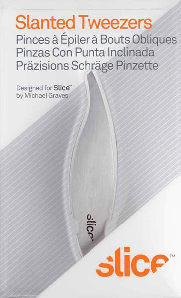 Slice Slanted Precision Tweezer, Silver