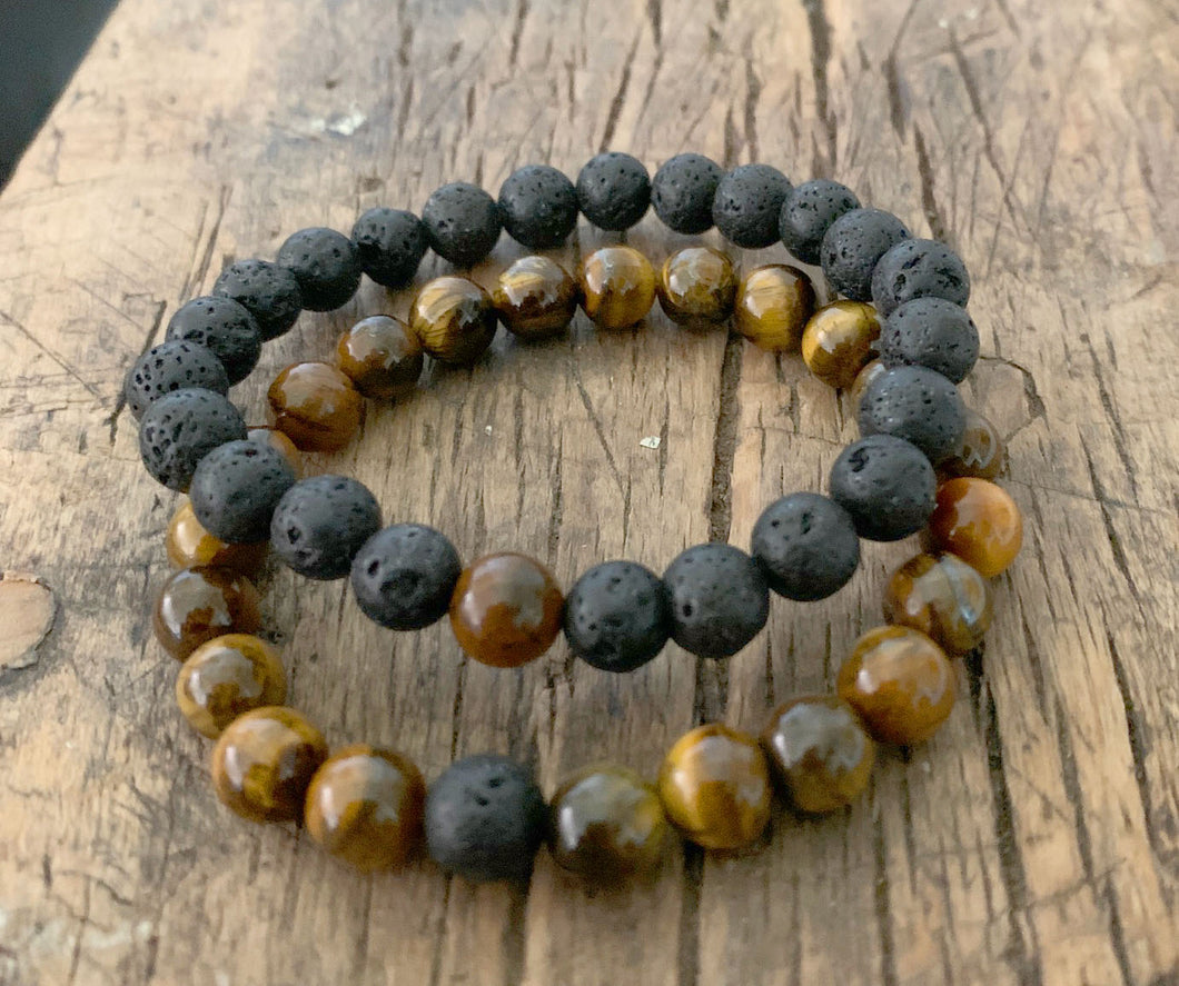 OCEAN SOUL - COUPLES DISTANCE BRACELETS - BLACK LAVA & TIGER EYE