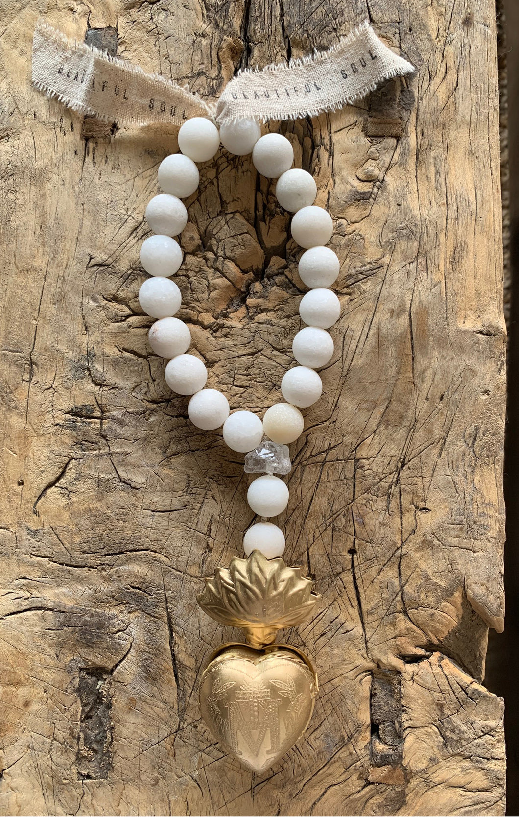 OCEAN SOUL - GOOD INTENTIONS - GOLD HEART LOCKET MALA