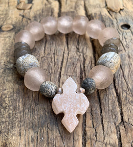 OCEAN SOUL - MATTE CALCITE CROSS WITH RECYCLED GLASS - LIMITED EDITION