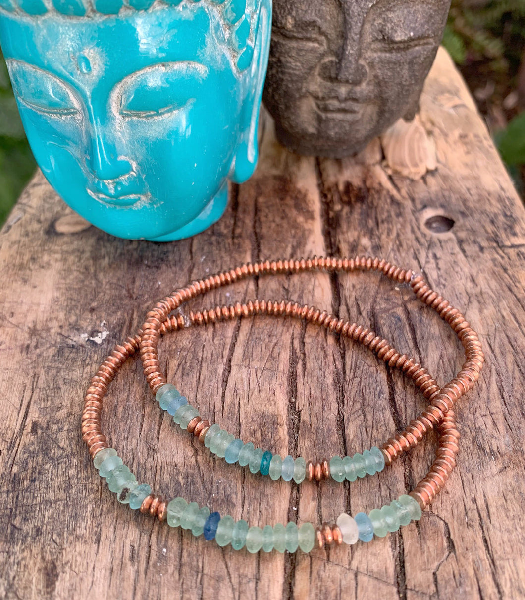 OCEAN SOUL - MEN'S ROMAN GLASS & COPPER BRACELET