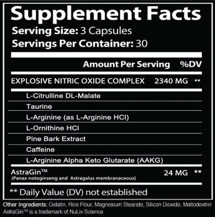 Nitric Oxide Boosters - Pre-Workout Stack for Men