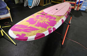 "10' x 32"" Bamboo Deck Pink Hibiscus Classic Alleydesigns SUP@ 9kg"