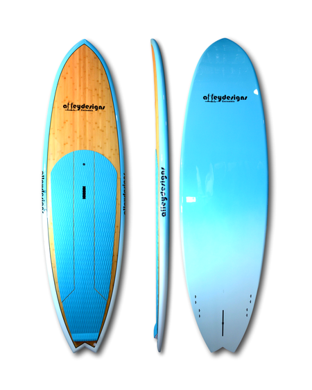 "9'6"" x 31"" Dark Bamboo, teal rails & underside Performance SUP - Alleydesigns Paddle Boards"