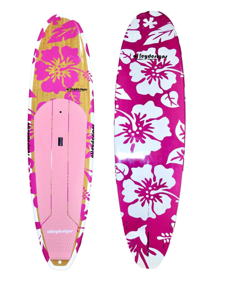 "10' x 32"" Bamboo Deck Pink Hibiscus Classic Alleydesigns SUP@ 9kg - Alleydesigns  Pty Ltd                                             ABN: 44165571264"