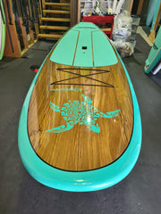 "10'6"" x 32"" Thermo Mould Teal Timber Turtle Alleydesigns SUP"
