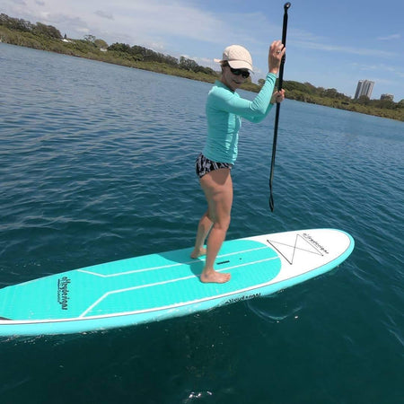 "10'6""x 32"" Thermo Mould Teal And White Alleydesigns SUP - Alleydesigns SUP's SURF & SNOW GEAR"