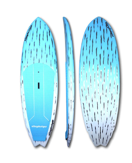 "8'2"" x 29"" x 4.5""Brushed Carbon Teal & White Fade Alleydesigns Surf SUP - Alleydesigns Paddle Boards"