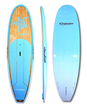 "9'6""x 31""Dark Bamboo deck teal turtle, rails & underside classic SUP - Alleydesigns SUP's SURF & SNOW GEAR"