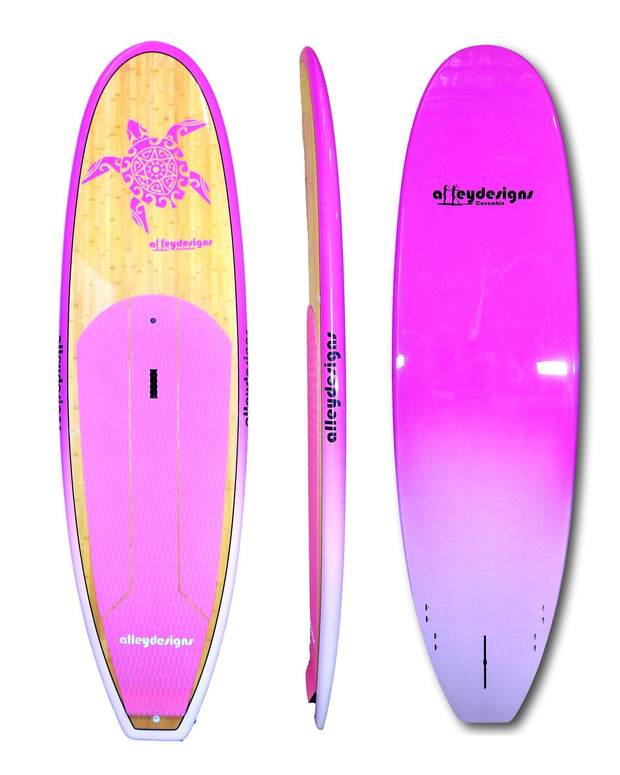 "9'6""x 31""Dark Bamboo Deck Pink Turtle, Rails & Underside Classic SUP - Alleydesigns Paddle Boards"