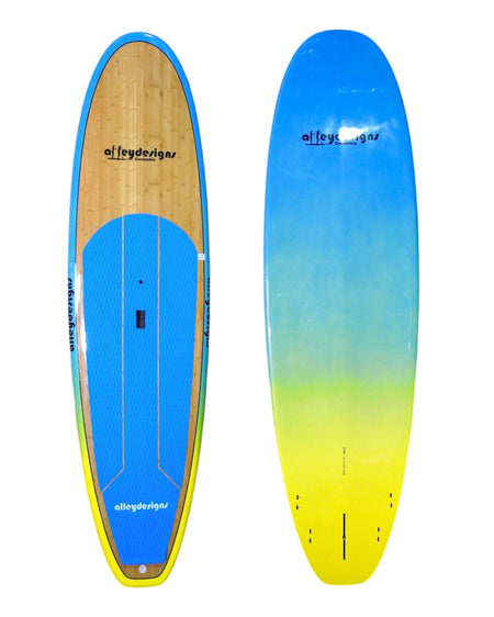 "10' x 32"" Bamboo Beach Blue To Yellow Fade Classic Alleydesigns SUP 9KG"