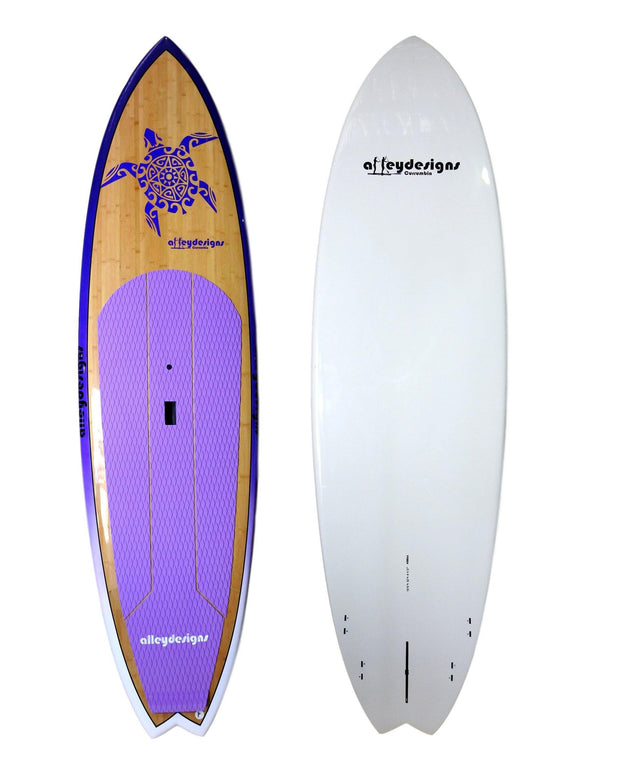 "10' x 32"" Bamboo Purple Rails & Turtle Performance Alleydesigns SUP 8KG"