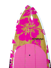 "10' x 32"" Bamboo Deck Pink Hibiscus Flowers All Over Performance Alleydesigns SUP @ 9kg - Alleydesigns  Pty Ltd                                             ABN: 44165571264"