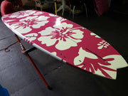 "10' x 32"" Bamboo Deck Pink Hibiscus Flowers All Over Performance Alleydesigns SUP @ 8KG"