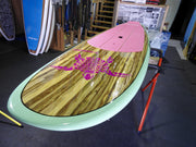 "10'6"" x 32"" Timber Deck Mint Rails, Pink Turtle Classic SUP under 10kg"
