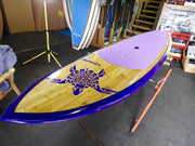 "10'6"" x 32"" Bamboo Deck Purple Turtle performance Alleydesigns SUP under 10kg"