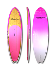 "9'6"" x 31"" Dark Bamboo deck & pink rails & underside Performance SUP - Alleydesigns Paddle Boards"