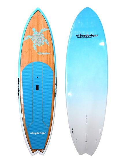 "10' x 32"" Bamboo Deck Teal Turtle Performance Alleydesigns SUP 8kg"
