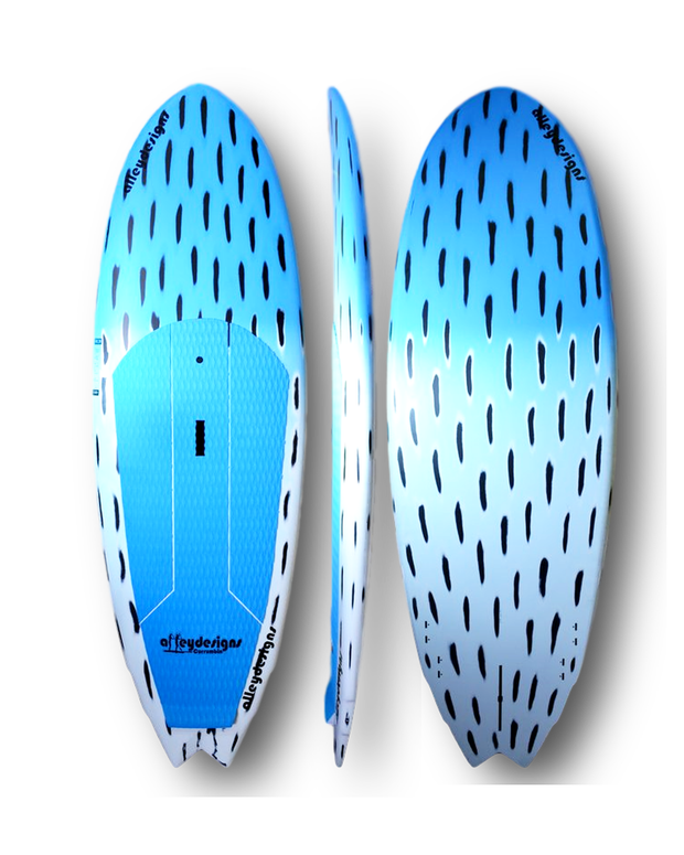 "7'10""x29""x4.5"" Brushed Carbon Teal ALLEYDESIGNS SURF SUP - Alleydesigns Paddle Boards"