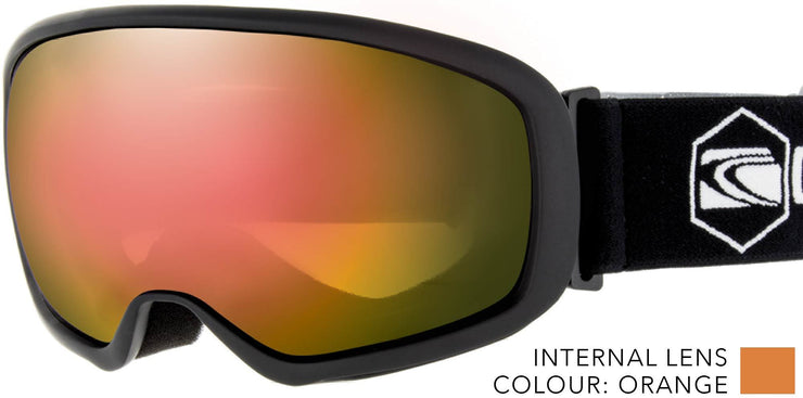 SNOW GOGGLES CARVE FIRST TRACKS BLACK/ RED IRIDIUM LENS