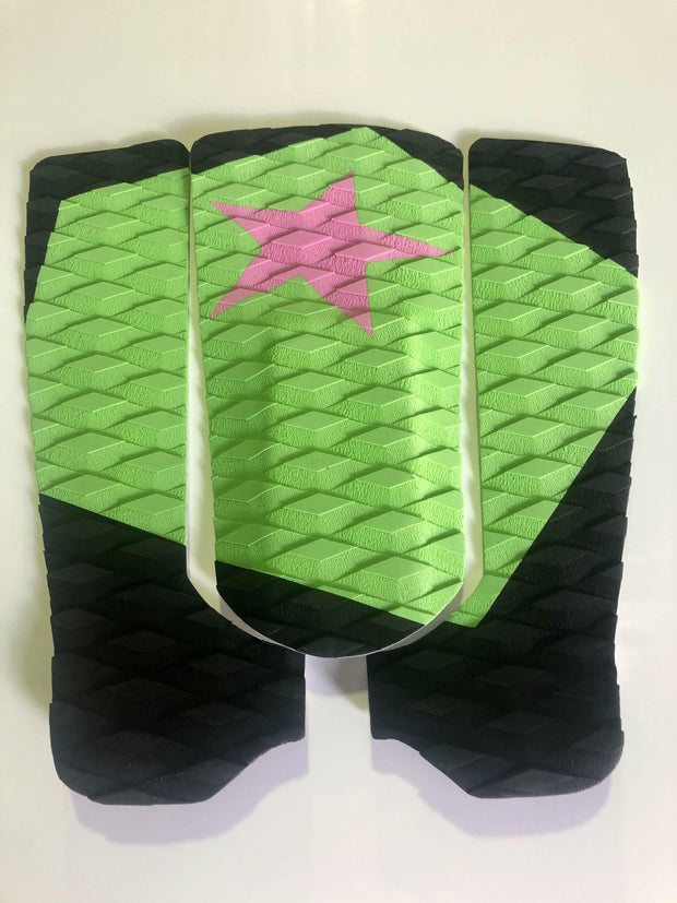 Tail Pad Black & Green with a pink star.