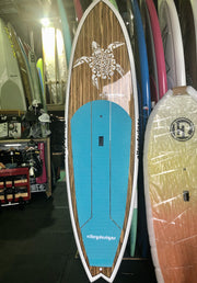 "9'6"" x 31"" Timber deck White Rails & Turtle Performance SUP"