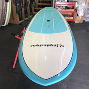 "10'6"" x 32"" Teal Blue & White Hybrid Alleydesigns SUP"