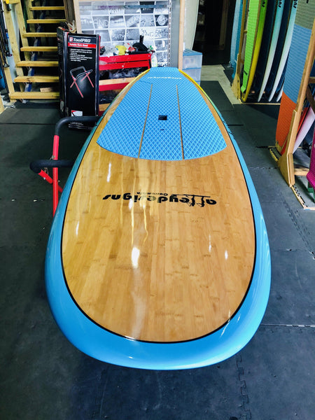 "10' x 32"" Bamboo Blue To Yellow Fade Classic Alleydesigns SUP 8KG"