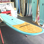 "10' x 27"" Bamboo & Teal Pin Tail Alleydesigns SURF SUP 8KG"