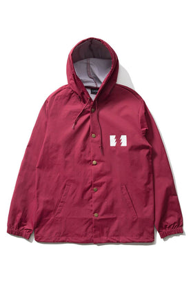 The Hundreds Forever Slant Hooded Coach's Jacket Burgundy Front