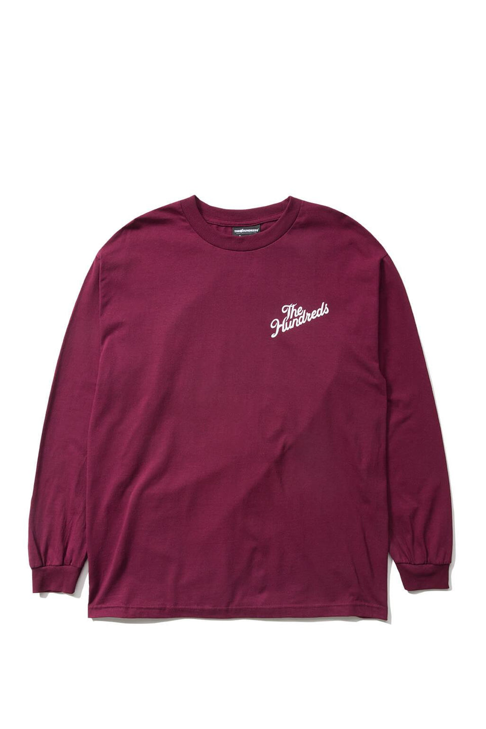The Hundreds Forever Slant Crest Longsleeve Shirt Burgundy Front