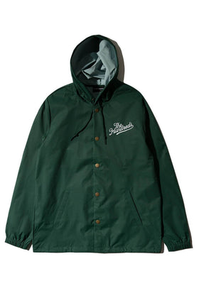 The Hundreds Forever Slant Hooded Coach Jacket Forest Green Front