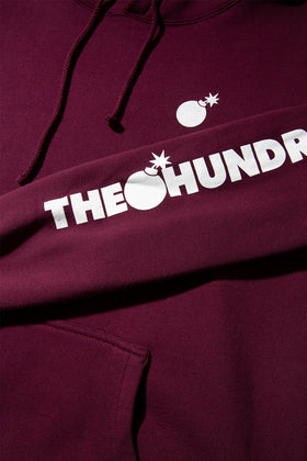 Forever Solid Bomb Crest Pullover Hoodie Burgundy Detail