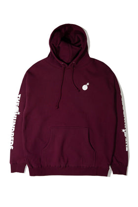 Forever Solid Bomb Crest Pullover Hoodie Burgundy Front