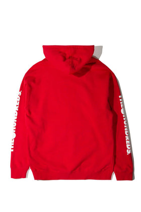 Forever Solid Bomb Crest Pullover Hoodie Red Back