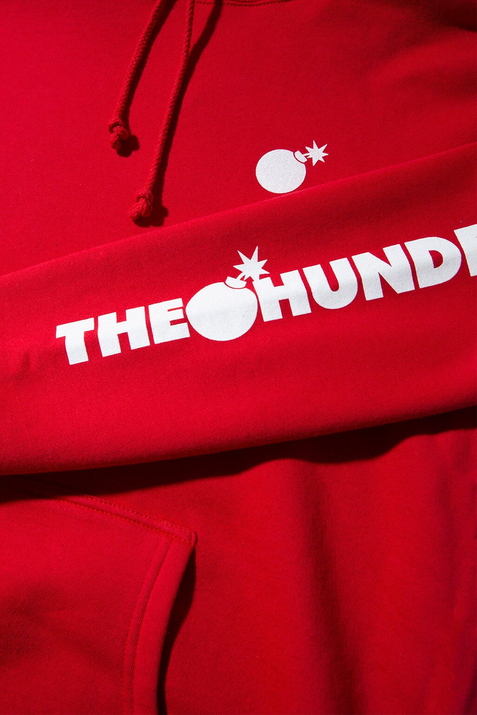 Forever Solid Bomb Crest Pullover Hoodie Red Detail