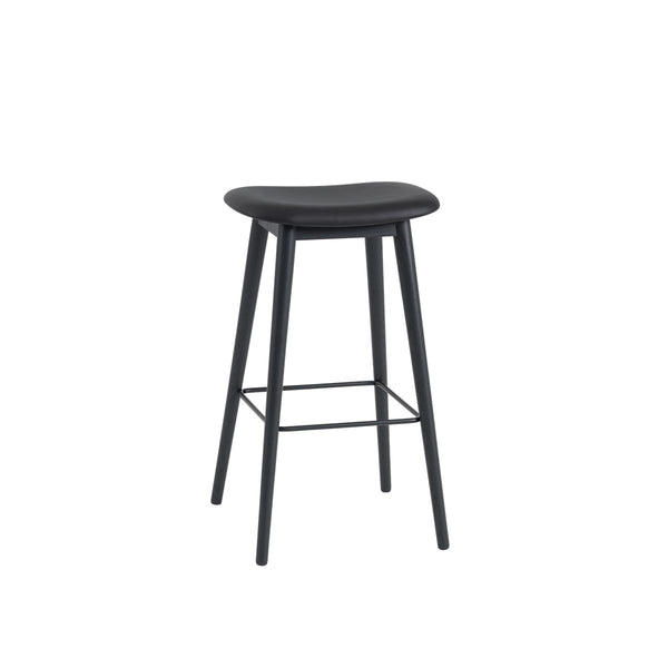 Fiber Bar Stool / Wood Base / Leather / 75cm