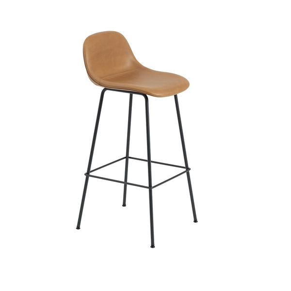 Fiber Counter Stool w/Backrest / Tube Base / Leather / 75cm