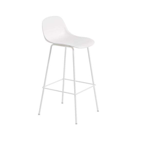 Fiber Counter Stool w/Backrest / Tube Base / 75cm