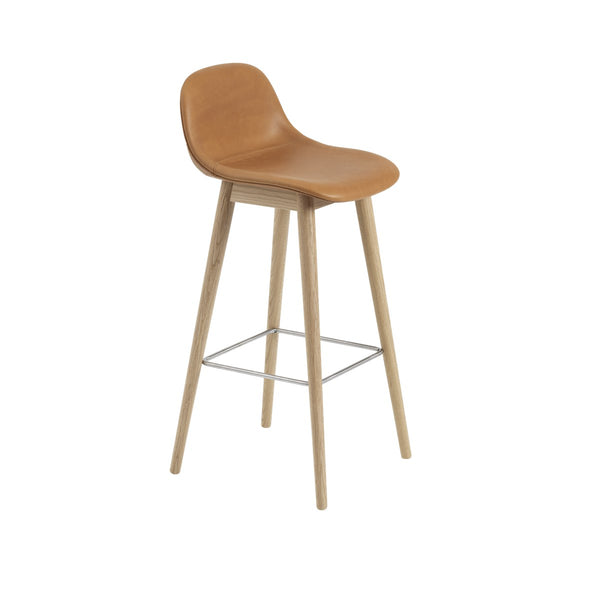 Fiber Bar Stool w/Backrest / Wood Base / Leather / 75cm