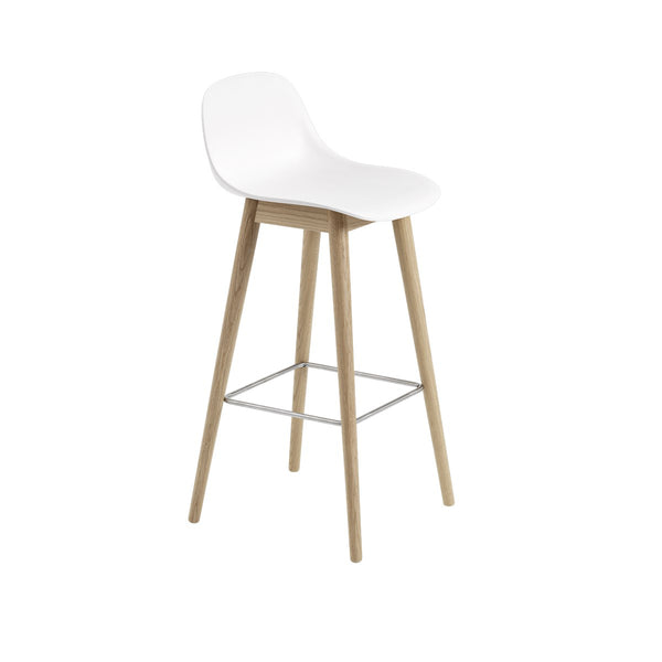 Fiber Bar Stool w/Backrest / Wood Base / 75cm