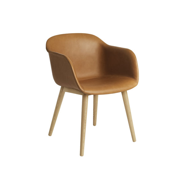 Fiber Armchair/ Wood Base / Leather