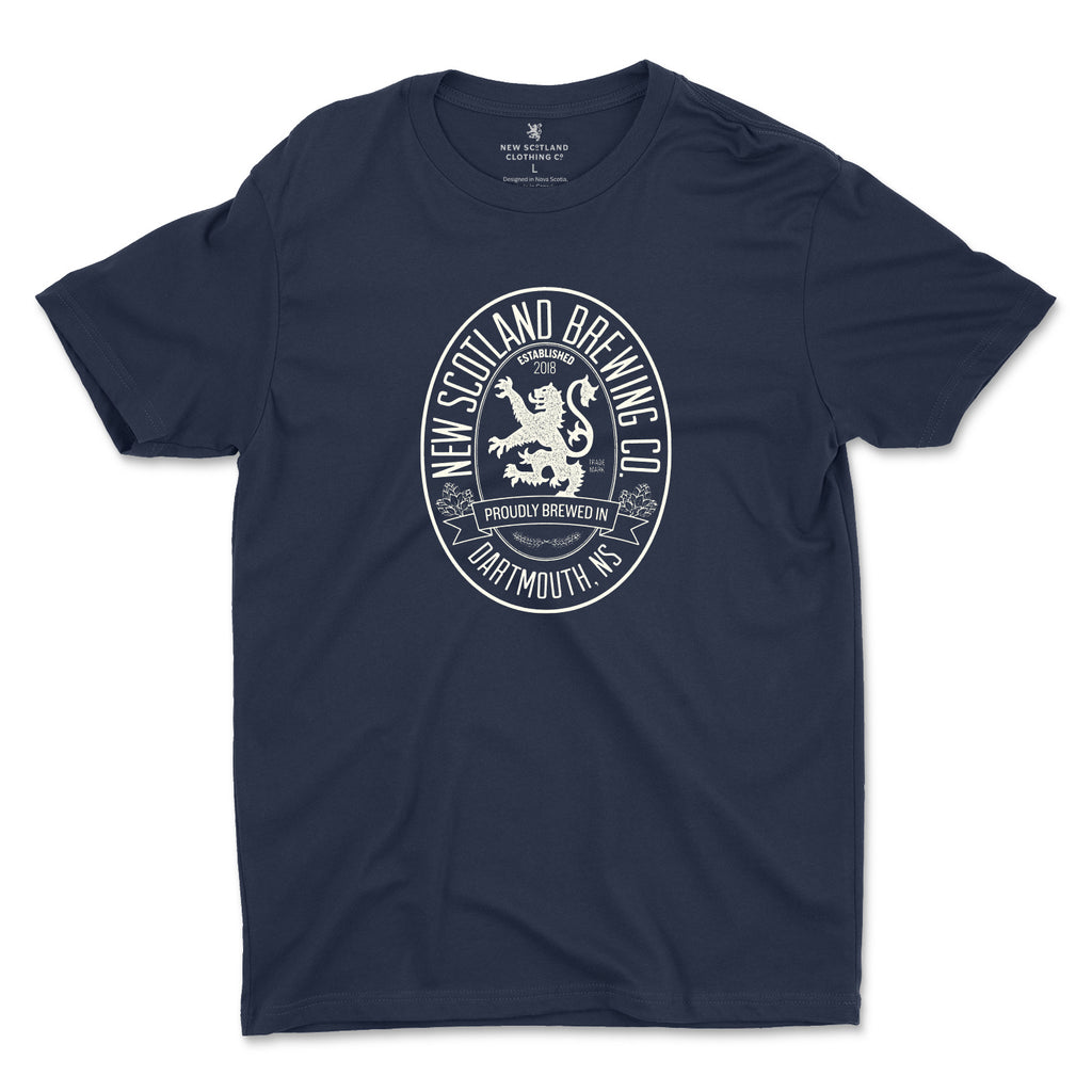 100% Cotton Vintage Beer Label T-Shirt in Navy