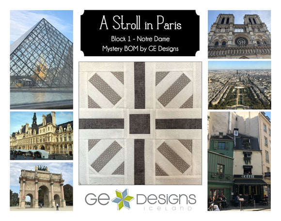A Stroll In Paris - BLOCK 1 Mystery BOM - pattern with video