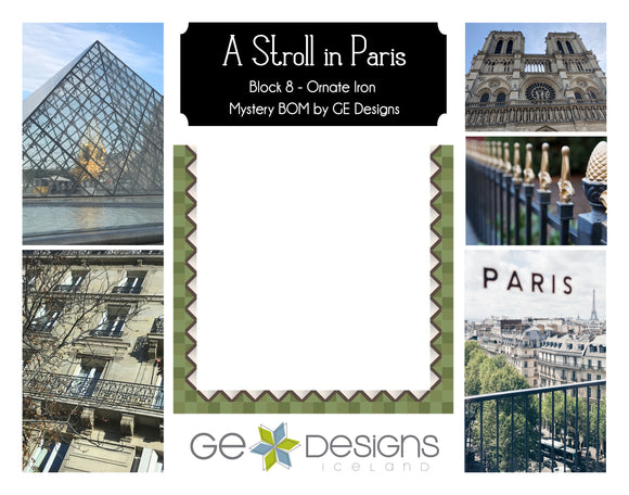 A Stroll In Paris - BLOCK 8 Mystery BOM - pattern with video