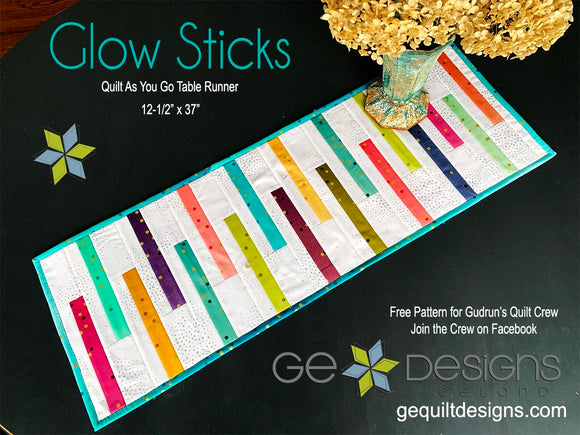 Glow Sticks - Quilt as you go Table runner